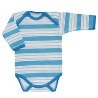 Купить Боди детское Трон-плюс, цвет: голубой, белый, светло-бежевый. 5871_полоска. Размер 74, 9 месяцев, Одежда для новорожденных