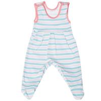 Купить Ползунки с грудкой Трон-плюс, цвет: бирюзовый, розовый, белый. 5247_полоска. Размер 68, 6 месяцев, Одежда для новорожденных
