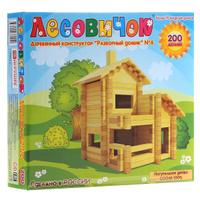 Купить Деревянный конструктор Лесовичок Разборный домик №4 , 200 элементов