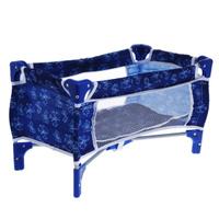Купить 1TOY Мебель для кукол Кроватка-манеж для кукол Красотка цвет синий белый