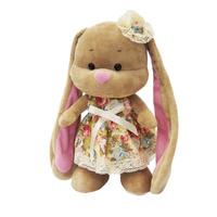 Купить Maxi Toys Мягкая игрушка Зайка Лин в летнем платье с цветочком на голове 25 см Уцененный товар (№1), Мягкие игрушки