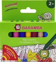 Купить Набор восковых карандашей в картонной коробке 18 шт +внутренний вкладыш-раскраска Для детей от 2х лет!, Baramba