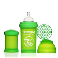 Купить Twistshake Бутылочка для кормления 180 мл с контейнером для сухой смеси и соской 0+, зеленая