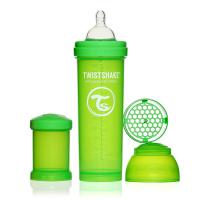 Купить Twistshake Бутылочка для кормления 330 мл с контейнером для сухой смеси и соской 4+, зеленая