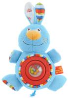 Купить Мир детства Мягкая игрушка-погремушка Фокусник Зайка цвет круга красный, Мир Детства