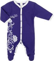 Купить Комбинезон для девочки Lucky Child Нежность, цвет: фиолетовый, белый. 15-1. Размер 74/80, 6-9 месяцев, Одежда для новорожденных