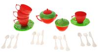 Купить Набор детской посуды Чайный сервиз Волшебная Хозяюшка , 22 предмета, цвет: красный, салатовый, Нордпласт, Сюжетно-ролевые игрушки