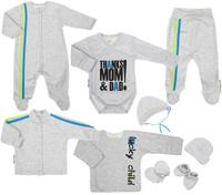 Купить Подарочный комплект для новорожденного Lucky Child Спортивная, 9 предметов, цвет: светло-серый меланж. 1-1000М. Размер 62/68, Одежда для новорожденных