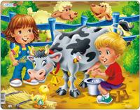 Купить Larsen Пазл Дети на ферме Корова, L.A.Larsen AS