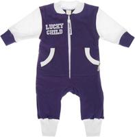 Купить Комбинезон детский Lucky Child, цвет: фиолетовый, белый. 8-1. Размер 80/86, 12-18 месяцев, Одежда для новорожденных