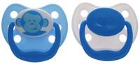 Купить Dr.Brown's Пустышка силиконовая ортодонтическая Обезьяна от 0 до 6 месяцев цвет голубой 2 шт, Пустышки