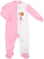 Купить Комбинезон для девочки КотМарКот, цвет: розовый, белый. 6263. Размер 80, 9-12 месяцев, Одежда для новорожденных