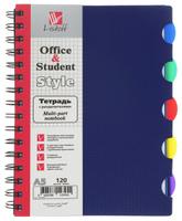 Купить Listoff Тетрадь с разделителями Синяя 120 листов в клетку формат А5