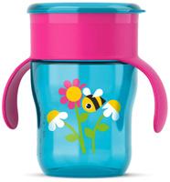 Купить Philips Avent Чашка-поильник от 12 месяцев цвет голубой фуксия 260 мл пчелка SCF782/20