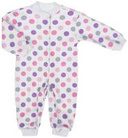 Купить Комбинезон для девочки Трон-плюс, цвет: белый, розовый, фиолетовый. 5813_ВЛ15_горох. Размер 68, 6 месяцев, Одежда для новорожденных