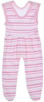 Купить Ползунки с грудкой для девочки Трон-плюс, цвет: белый, розовый. 5211_ОЗ14_полоски 2. Размер 68, 6 месяцев, Одежда для новорожденных
