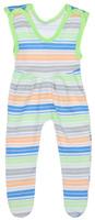 Купить Ползунки с грудкой для девочки Трон-плюс, цвет: белый, светло-зеленый, оранжевый. 5211_ВЛ15_полоски 2. Размер 74, 9 месяцев, Одежда для новорожденных