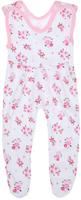 Купить Ползунки с грудкой для девочки Трон-плюс, цвет: белый, розовый, зеленый. 5211_ОЗ14_цветы. Размер 68, 6 месяцев, Одежда для новорожденных