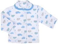 Купить Кофточка для мальчика Трон-плюс, цвет: белый, голубой, серый. 5165_ОЗ14_машинки. Размер 74, 9 месяцев, Одежда для новорожденных