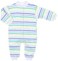 Купить Комбинезон детский Трон-плюс, цвет: белый, голубой, салатовый. 5813_ВЛ15_полоски 1. Размер 74, 9 месяцев, Одежда для новорожденных