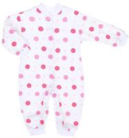 Купить Комбинезон для девочки Трон-плюс, цвет: белый, розовый. 5813_ОЗ14_горох. Размер 86, 18 месяцев, Одежда для новорожденных