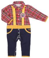 Купить Комбинезон для мальчика Lucky Child Мужички, цвет: красный, желтый, темно-синий. 27-1. Размер 80/86, 12-18 месяцев, Одежда для новорожденных