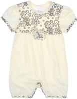 Купить Песочник для девочки Lucky Child Цветочки, цвет: экрю. 11-28. Размер 68/74, 3-6 месяцев, Одежда для новорожденных
