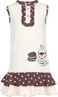 Купить Платье для девочки Lucky Child Летнее кафе, цвет: светло-бежевый, темно-коричневый, светло-персиковый. 23-61. Размер 110/116, 5-6 лет, Одежда для девочек