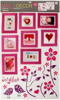 Купить Наклейка фоторамка на 8 фото Птичьи трели с блестками МИКС 60х101 см, Huanggang Jiazhi Textile Imports And Exports Co Ltd