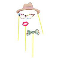 Купить Набор аксессуаров для фотосессии на палочке Страна Карнавалия Леди , 4 предмета: шляпа, бабочка, очки, губки, Карнавальные костюмы и аксессуары