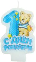 Купить Sima-land Свеча с мишкой С днем рождения 1 4, 5 х 7 см 1003752, Свечи для торта