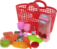 Купить ABtoys Набор продуктов в корзине 14 предметов цвет красный, Сюжетно-ролевые игрушки