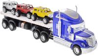 Купить Junfa Toys Автовоз инерционный с 3 машинками цвет синий, Машинки