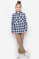Купить Рубашка для девочки Button Blue, цвет: белый, темно-синий. 216BBGC23011402. Размер 104, 4 года, Одежда для девочек