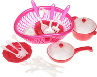 Купить Нордпласт Игрушечный набор посуды Кухонный сервиз Волшебная Хозяюшка цвет фуксия красный, Сюжетно-ролевые игрушки