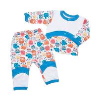 Купить Комплект детский Клякса Сова: кофточка, штанишки, цвет: белый, голубой, мультиколор. 33к-2015. Размер 74, Одежда для новорожденных
