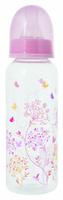 Купить Мир Детства Бутылочка для кормления с силиконовой соской ортодонтической формы Травы 250 мл цвет розовый, Мир детства