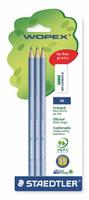 Купить Staedtler Набор чернографитовых карандашей Wopex HB с ластиком 3 шт цвет корпуса голубой