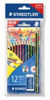 Купить Staedtler Набор цветных карандашей Wopex 12 цветов с чернографитным карандашом 180 30-НВ и ластиком