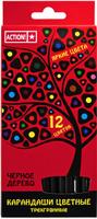 Купить Action! Набор цветных карандашей Черное дерево 12 цветов