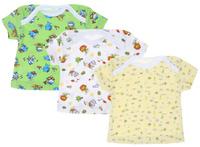 Купить Футболка для мальчика Фреш Стайл, цвет: белый, зеленый, желтый, 3 шт. 33-235м. Размер 74, Одежда для новорожденных