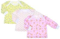 Купить Футболка с длинным рукавом для девочки Фреш Стайл, цвет: желтый, белый, розовый, 3 шт. 33-236д. Размер 74, Одежда для новорожденных