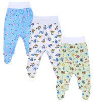 Купить Ползунки для мальчика Фреш Стайл, цвет: голубой, зеленый, белый, 3 шт. 33-518м. Размер 74, Одежда для новорожденных