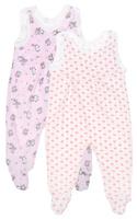 Купить Ползунки с грудкой для девочки Фреш Стайл, цвет: розовый, белый, 2 шт. 33-501д. Размер 80, Одежда для новорожденных