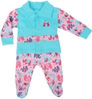 Купить Комплект для девочки Клякса: кофточка, ползунки, цвет: бирюзовый, розовый. 37К-5062. Размер 80, Одежда для новорожденных