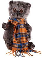Купить Басик и Ко Мягкая игрушка Басик и шарф в клеточку 22 см 747257, Сима-ленд, Мягкие игрушки