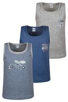 Купить Майка для мальчика Baykar, цвет: серый меланж, синий, мультиколор, 3 шт. N2148-22. Размер 134/140, Одежда для мальчиков