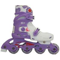 Купить Коньки роликовые Action PW-128 , раздвижные, цвет: фиолетовый, белый. Размер: 35/38, Ролики