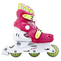 Купить Коньки роликовые Action PW-340 , раздвижные, цвет: белый, розовый, светло-зеленый. Размер: 26/29, Ролики