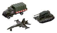 Купить ТехноПарк Набор машинок Военная техника цвет темно-зеленый 3 шт, Машинки